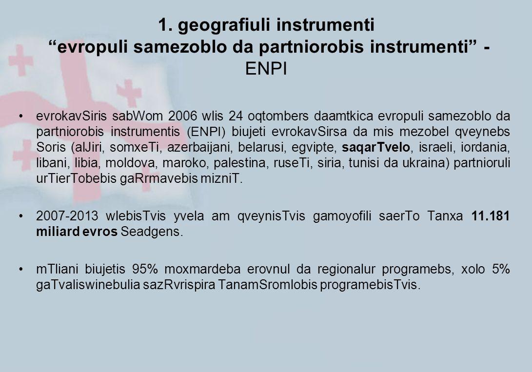 "1. geografiuli instrumenti ""evropuli samezoblo da partniorobis instrumenti"" - ENPI evrokavSiris sabWom 2006 wlis 24 oqtombers daamtkica evropuli samez"