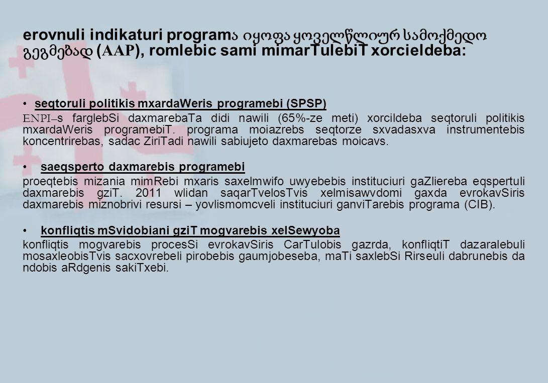 erovnuli indikaturi program ა იყოფა ყოველწლიურ სამოქმედო გეგმებად ( AAP ), romlebic sami mimarTulebiT xorcieldeba: seqtoruli politikis mxardaWeris pro