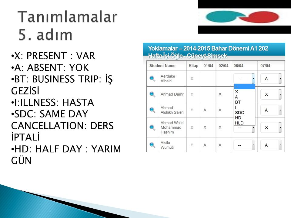 X: PRESENT : VAR A: ABSENT: YOK BT: BUSINESS TRIP: İŞ GEZİSİ I:ILLNESS: HASTA SDC: SAME DAY CANCELLATION: DERS İPTALİ HD: HALF DAY : YARIM GÜN