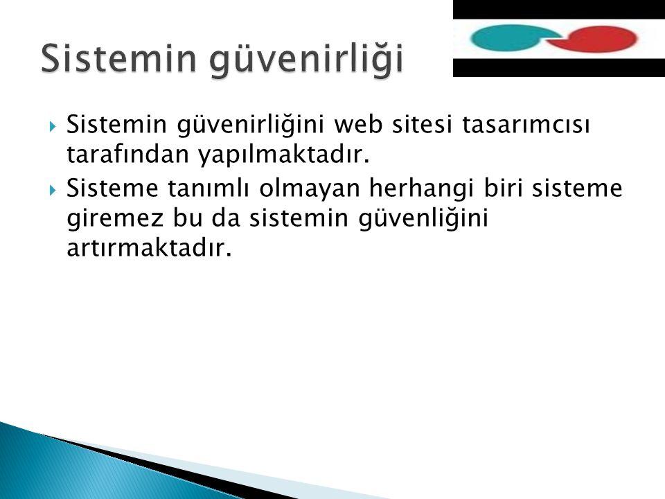  Sistemin güvenirliğini web sitesi tasarımcısı tarafından yapılmaktadır.  Sisteme tanımlı olmayan herhangi biri sisteme giremez bu da sistemin güven