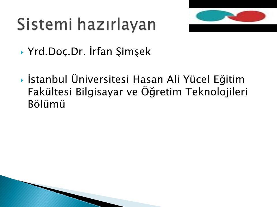 Yrd.Doç.Dr. İrfan Şimşek  İstanbul Üniversitesi Hasan Ali Yücel Eğitim Fakültesi Bilgisayar ve Öğretim Teknolojileri Bölümü