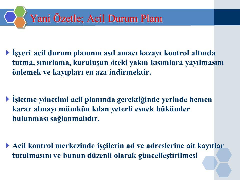  Acil durum planı belirlenen yerlere bölüm sorumluları tarafından asılır. Acil Durum Planı