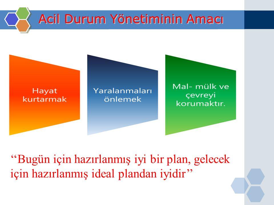 Acil Durum Yönetiminin Amacı ''Bugün için hazırlanmış iyi bir plan, gelecek için hazırlanmış ideal plandan iyidir''