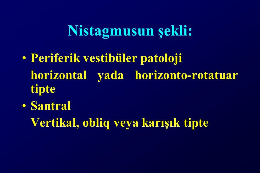 Nistagmusun şekli: Periferik vestibüler patoloji horizontal yada horizonto-rotatuar tipte Santral Vertikal, obliq veya karışık tipte