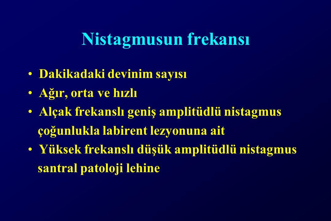 Nistagmusun frekansı Dakikadaki devinim sayısı Ağır, orta ve hızlı Alçak frekanslı geniş amplitüdlü nistagmus çoğunlukla labirent lezyonuna ait Yüksek