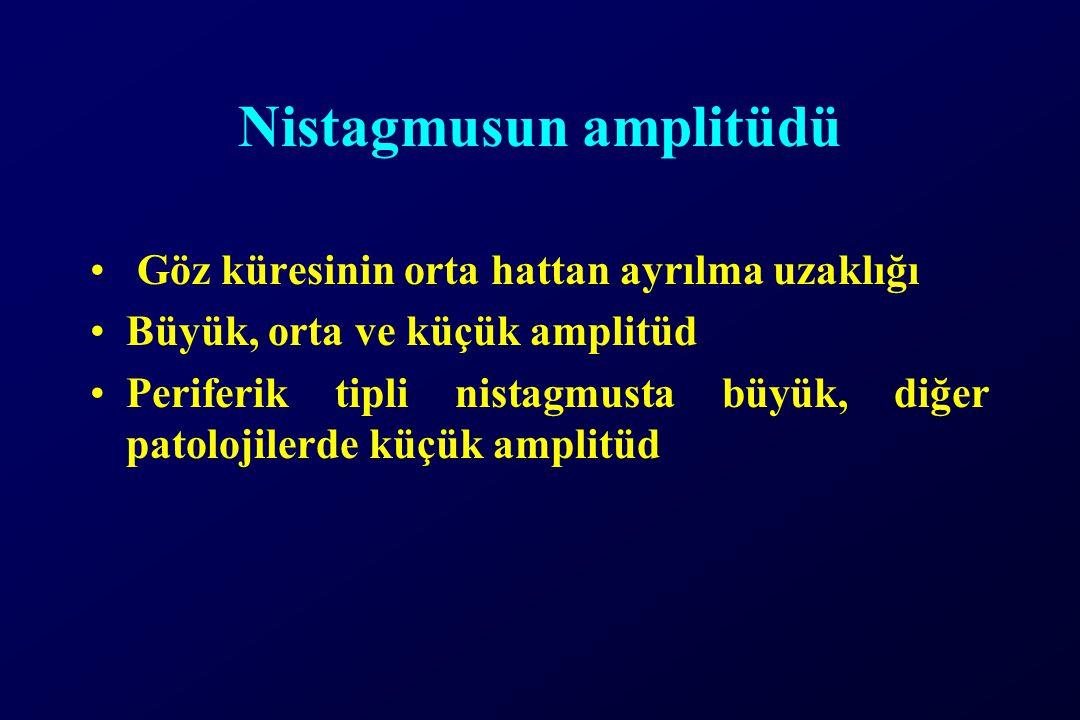Nistagmusun amplitüdü Göz küresinin orta hattan ayrılma uzaklığı Büyük, orta ve küçük amplitüd Periferik tipli nistagmusta büyük, diğer patolojilerde küçük amplitüd