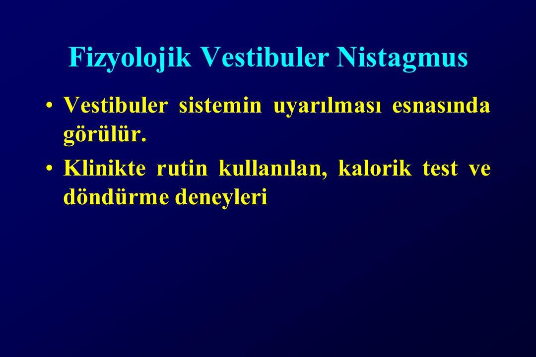 Fizyolojik Vestibuler Nistagmus Vestibuler sistemin uyarılması esnasında görülür. Klinikte rutin kullanılan, kalorik test ve döndürme deneyleri