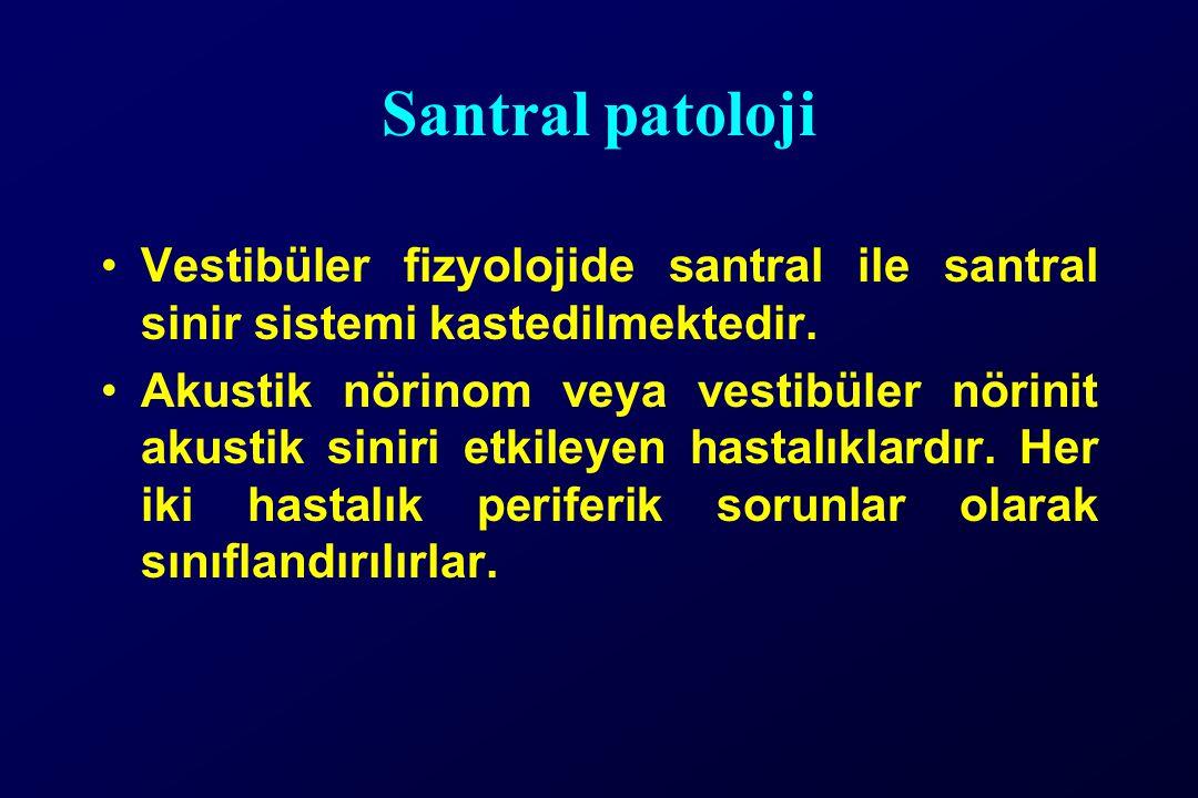 Santral patoloji Vestibüler fizyolojide santral ile santral sinir sistemi kastedilmektedir. Akustik nörinom veya vestibüler nörinit akustik siniri etk