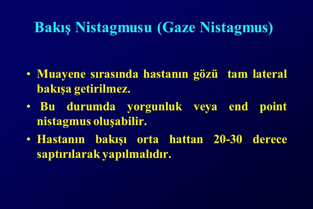 Bakış Nistagmusu (Gaze Nistagmus) Muayene sırasında hastanın gözü tam lateral bakışa getirilmez. Bu durumda yorgunluk veya end point nistagmus oluşabi