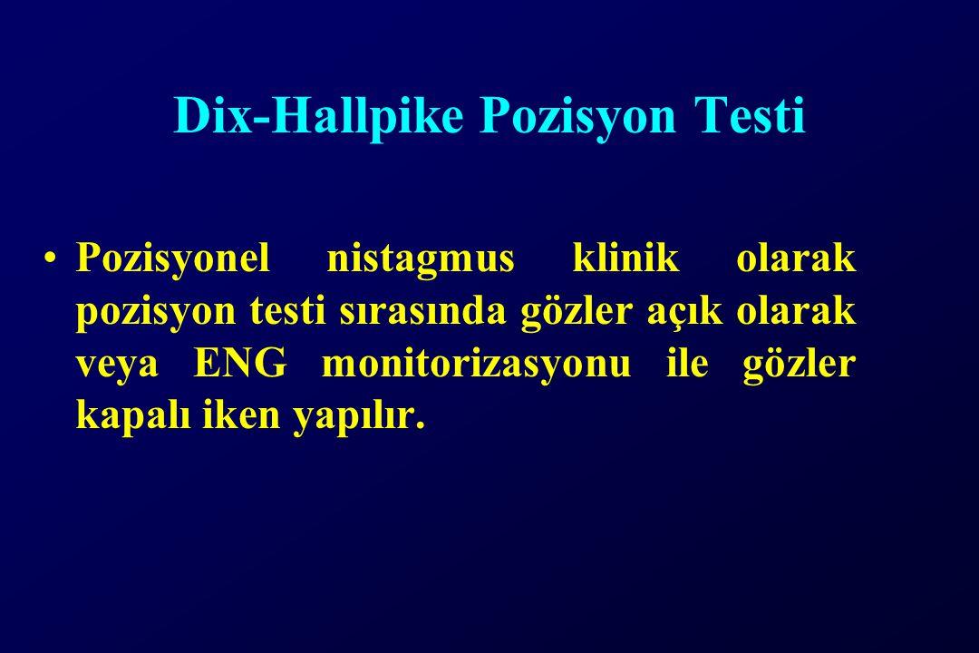 Dix-Hallpike Pozisyon Testi Pozisyonel nistagmus klinik olarak pozisyon testi sırasında gözler açık olarak veya ENG monitorizasyonu ile gözler kapalı iken yapılır.