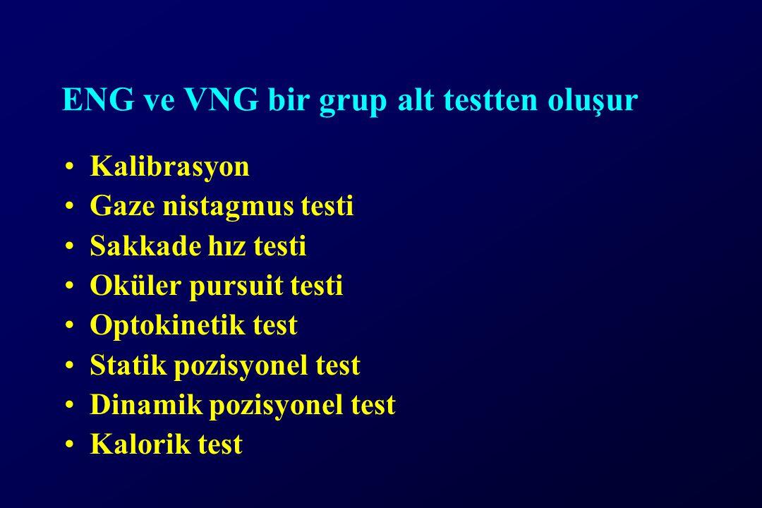ENG ve VNG bir grup alt testten oluşur Kalibrasyon Gaze nistagmus testi Sakkade hız testi Oküler pursuit testi Optokinetik test Statik pozisyonel test Dinamik pozisyonel test Kalorik test