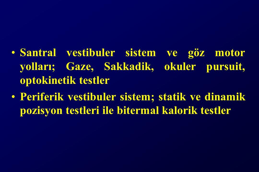 Santral vestibuler sistem ve göz motor yolları; Gaze, Sakkadik, okuler pursuit, optokinetik testler Periferik vestibuler sistem; statik ve dinamik pozisyon testleri ile bitermal kalorik testler