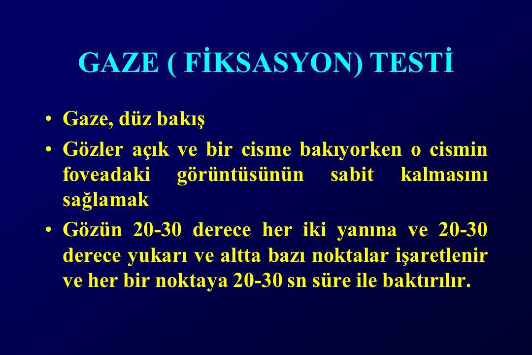 GAZE ( FİKSASYON) TESTİ Gaze, düz bakış Gözler açık ve bir cisme bakıyorken o cismin foveadaki görüntüsünün sabit kalmasını sağlamak Gözün 20-30 derec