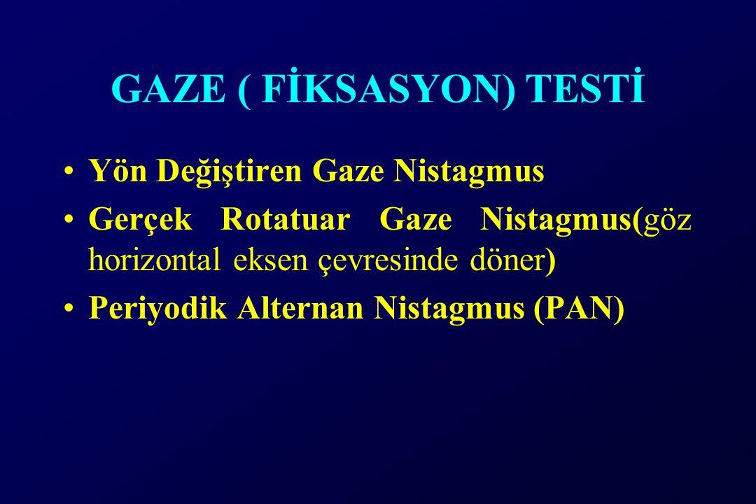 GAZE ( FİKSASYON) TESTİ Yön Değiştiren Gaze Nistagmus Gerçek Rotatuar Gaze Nistagmus(göz horizontal eksen çevresinde döner) Periyodik Alternan Nistagm