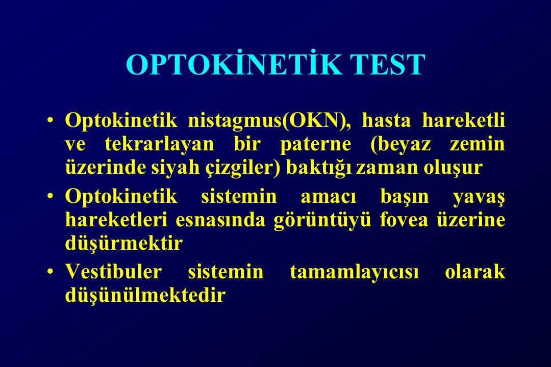 OPTOKİNETİK TEST Optokinetik nistagmus(OKN), hasta hareketli ve tekrarlayan bir paterne (beyaz zemin üzerinde siyah çizgiler) baktığı zaman oluşur Optokinetik sistemin amacı başın yavaş hareketleri esnasında görüntüyü fovea üzerine düşürmektir Vestibuler sistemin tamamlayıcısı olarak düşünülmektedir
