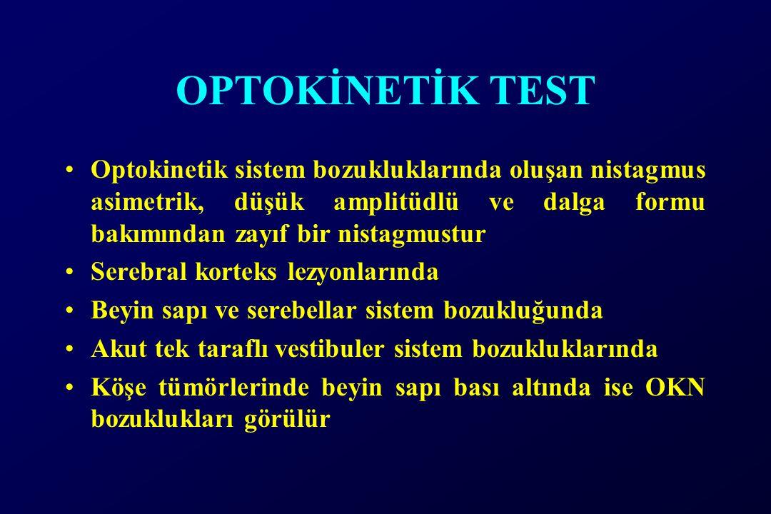 OPTOKİNETİK TEST Optokinetik sistem bozukluklarında oluşan nistagmus asimetrik, düşük amplitüdlü ve dalga formu bakımından zayıf bir nistagmustur Serebral korteks lezyonlarında Beyin sapı ve serebellar sistem bozukluğunda Akut tek taraflı vestibuler sistem bozukluklarında Köşe tümörlerinde beyin sapı bası altında ise OKN bozuklukları görülür