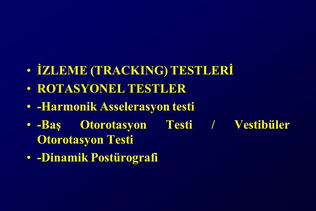 İZLEME (TRACKING) TESTLERİ ROTASYONEL TESTLER -Harmonik Asselerasyon testi -Baş Otorotasyon Testi / Vestibüler Otorotasyon Testi -Dinamik Postürografi