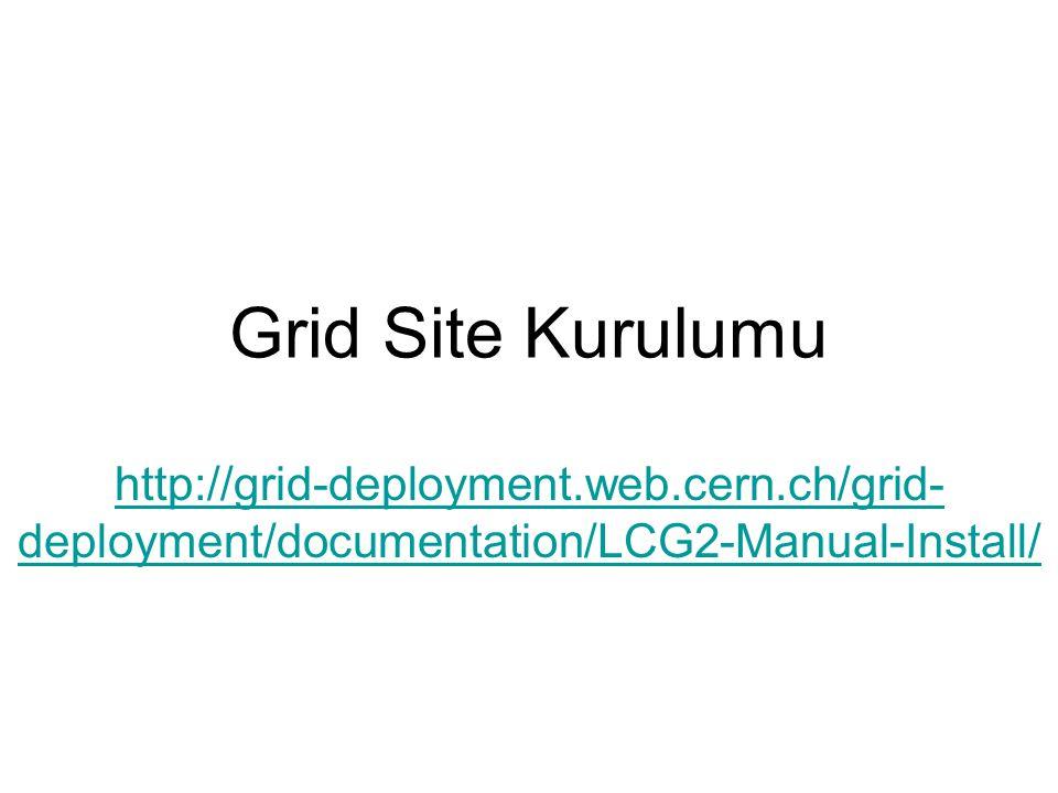 Sitenin test edilmesi CE'de: pbsnodes –a (Sitedeki tüm WN'lerin bilgisini vermesi beklenir.) Arayüz makinasında (levrek.ulakbim.gov.tr): (voms-proxy-init –voms sgdemo yaptıktan sonra) globus-job-run :2119/jobmanager-lcgpbs /bin/hostname