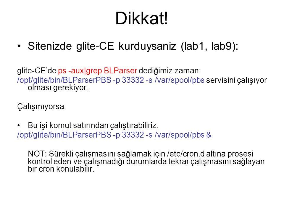 Dikkat! Sitenizde glite-CE kurduysaniz (lab1, lab9): glite-CE'de ps -aux|grep BLParser dediğimiz zaman: /opt/glite/bin/BLParserPBS -p 33332 -s /var/sp