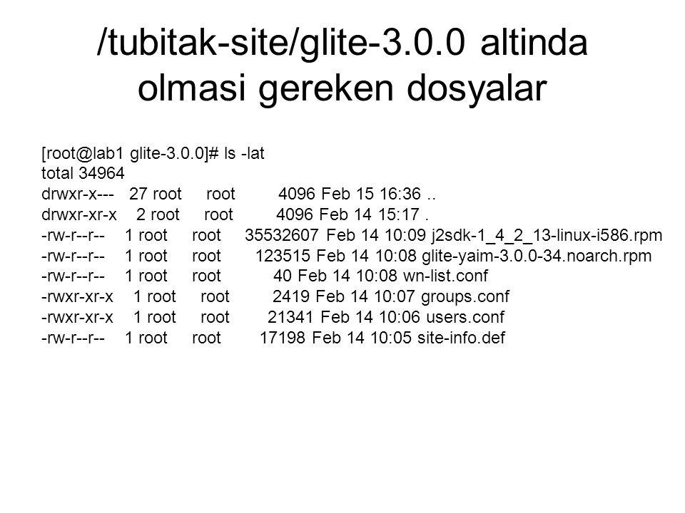 /tubitak-site/glite-3.0.0 altinda olmasi gereken dosyalar [root@lab1 glite-3.0.0]# ls -lat total 34964 drwxr-x--- 27 root root 4096 Feb 15 16:36..