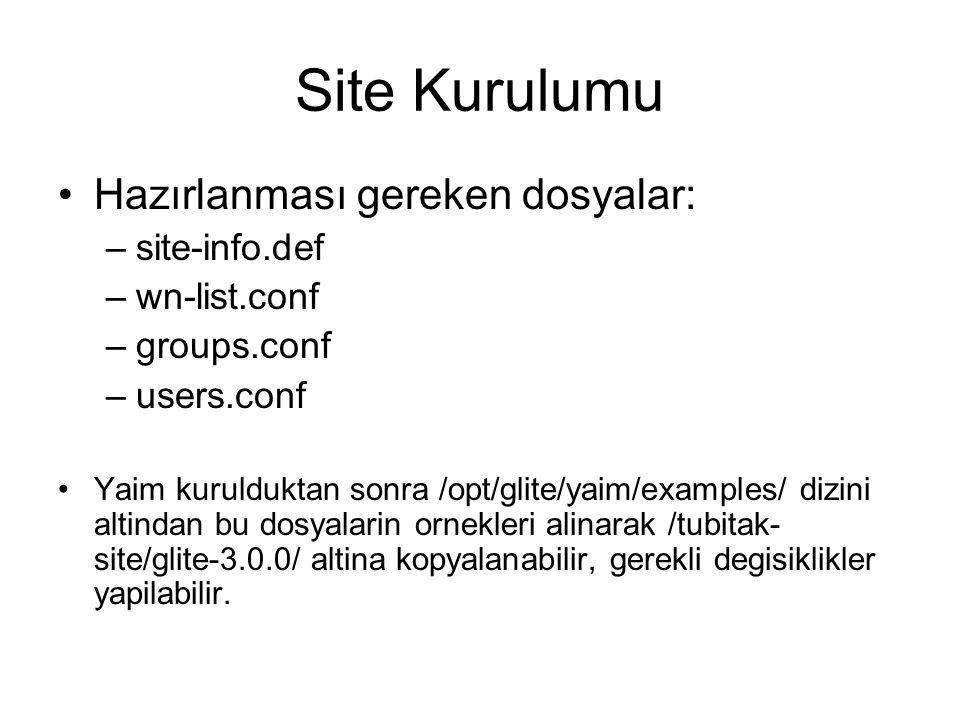 Site Kurulumu Hazırlanması gereken dosyalar: –site-info.def –wn-list.conf –groups.conf –users.conf Yaim kurulduktan sonra /opt/glite/yaim/examples/ dizini altindan bu dosyalarin ornekleri alinarak /tubitak- site/glite-3.0.0/ altina kopyalanabilir, gerekli degisiklikler yapilabilir.
