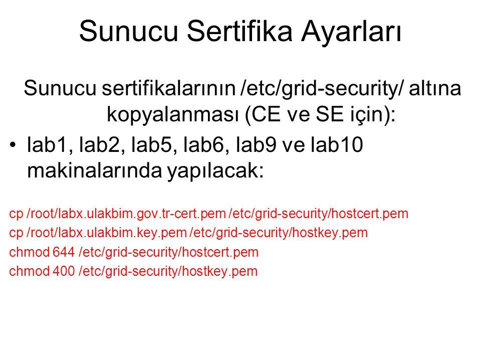Sunucu Sertifika Ayarları Sunucu sertifikalarının /etc/grid-security/ altına kopyalanması (CE ve SE için): lab1, lab2, lab5, lab6, lab9 ve lab10 makin