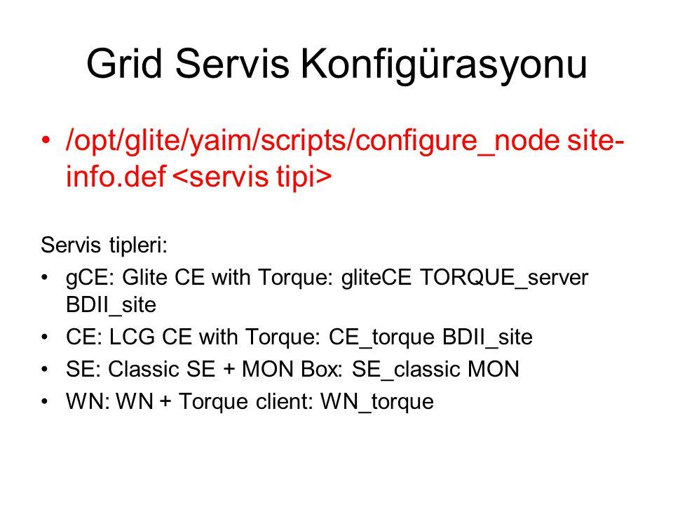 Grid Servis Konfigürasyonu /opt/glite/yaim/scripts/configure_node site- info.def Servis tipleri: gCE: Glite CE with Torque: gliteCE TORQUE_server BDII