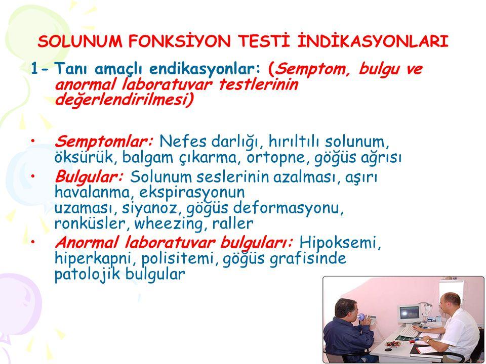 1-Tanı amaçlı endikasyonlar: (Semptom, bulgu ve anormal laboratuvar testlerinin değerlendirilmesi) Semptomlar: Nefes darlığı, hırıltılı solunum, öksürük, balgam çıkarma, ortopne, göğüs ağrısı Bulgular: Solunum seslerinin azalması, aşırı havalanma, ekspirasyonun uzaması, siyanoz, göğüs deformasyonu, ronküsler, wheezing, raller Anormal laboratuvar bulguları: Hipoksemi, hiperkapni, polisitemi, göğüs grafisinde patolojik bulgular SOLUNUM FONKSİYON TESTİ İNDİKASYONLARI