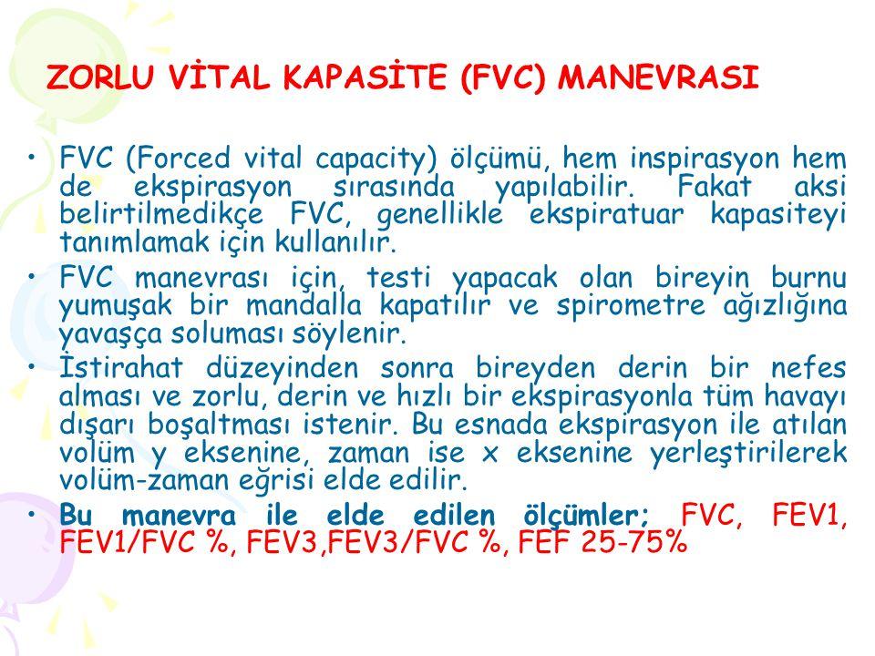 FVC (Forced vital capacity) ölçümü, hem inspirasyon hem de ekspirasyon sırasında yapılabilir.