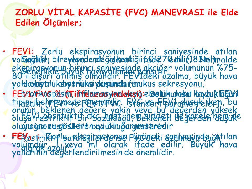FEV1: Zorlu ekspirasyonun birinci saniyesinde atılan volümdür, l veya ml olarak ifade edilir.