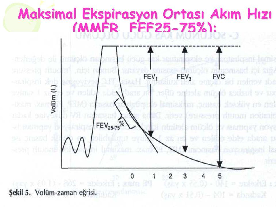 Maksimal Ekspirasyon Ortası Akım Hızı (MMFR, FEF25-75%): Orta ve küçük havayollarından gelen akımı yansıtır. FVC ye dolayısıyla hasta eforuna bağımlı