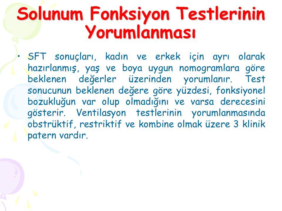 Solunum Fonksiyon Testlerinin Yorumlanması SFT sonuçları, kadın ve erkek için ayrı olarak hazırlanmış, yaş ve boya uygun nomogramlara göre beklenen değerler üzerinden yorumlanır.