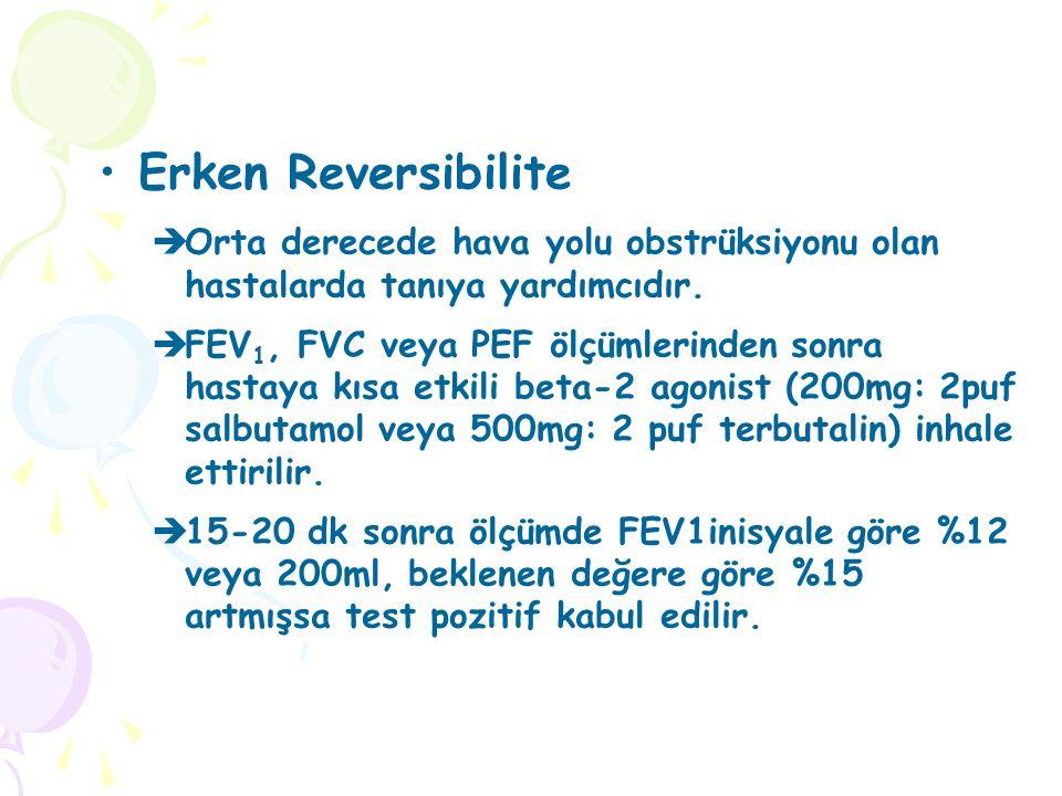 Erken Reversibilite  Orta derecede hava yolu obstrüksiyonu olan hastalarda tanıya yardımcıdır.  FEV 1, FVC veya PEF ölçümlerinden sonra hastaya kısa