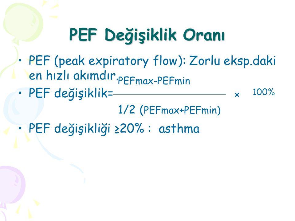 PEF Değişiklik Oranı PEF (peak expiratory flow): Zorlu eksp.daki en hızlı akımdır. PEF değişiklik= PEF değişikliği ≥20% : asthma PEFmax-PEFmin 1/2 ( P