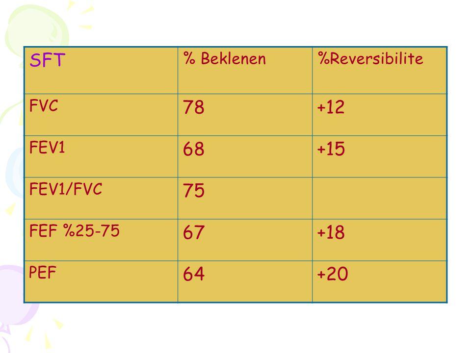 SFT % Beklenen%Reversibilite FVC 78+12 FEV1 68+15 FEV1/FVC 75 FEF %25-75 67+18 PEF 64+20
