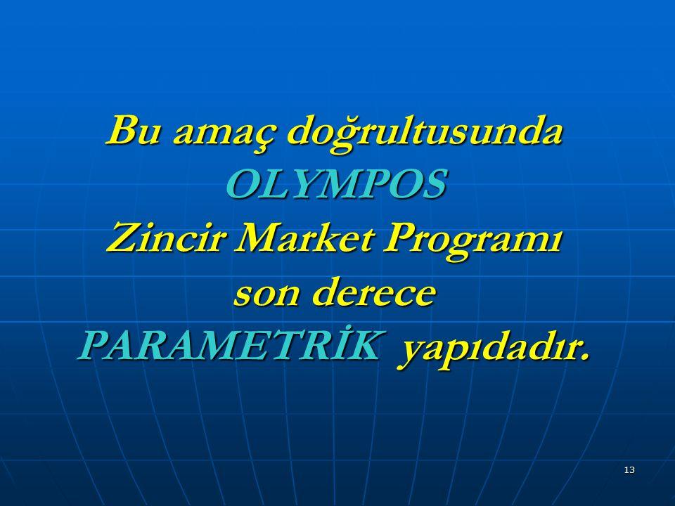 13 Bu amaç doğrultusunda OLYMPOS Zincir Market Programı son derece PARAMETRİK yapıdadır.