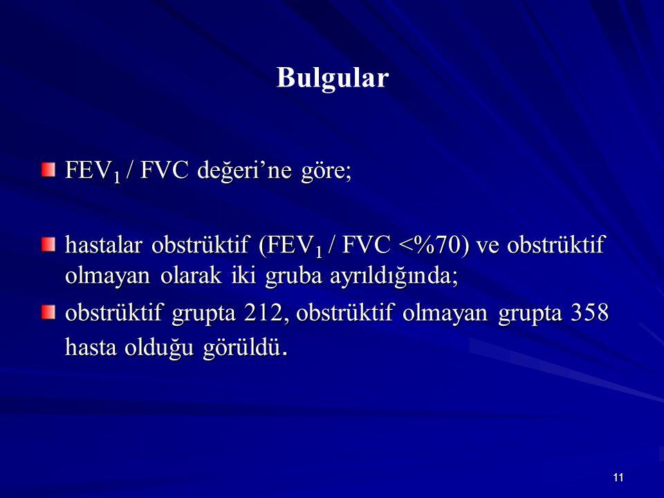 11 Bulgular FEV 1 / FVC değeri'ne göre; hastalar obstrüktif (FEV 1 / FVC <%70) ve obstrüktif olmayan olarak iki gruba ayrıldığında; obstrüktif grupta 212, obstrüktif olmayan grupta 358 hasta olduğu görüldü.
