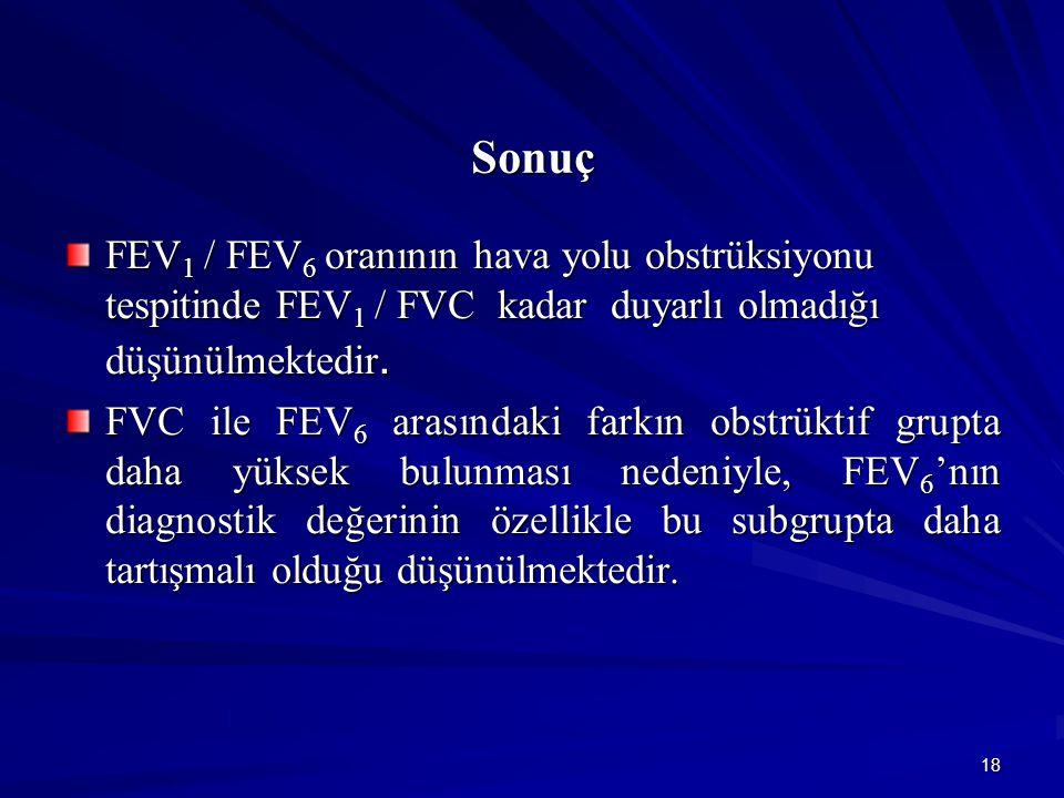 18 Sonuç FEV 1 / FEV 6 oranının hava yolu obstrüksiyonu tespitinde FEV 1 / FVC kadar duyarlı olmadığı düşünülmektedir. FVC ile FEV 6 arasındaki farkın