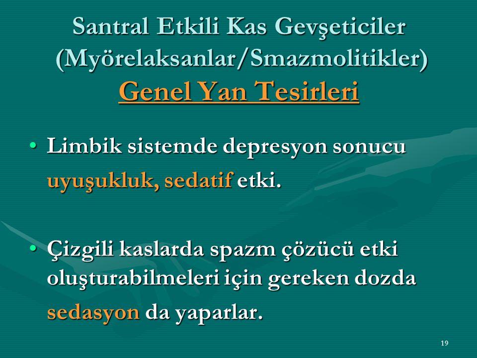 19 Santral Etkili Kas Gevşeticiler (Myörelaksanlar/Smazmolitikler) Genel Yan Tesirleri Limbik sistemde depresyon sonucuLimbik sistemde depresyon sonucu uyuşukluk, sedatif etki.