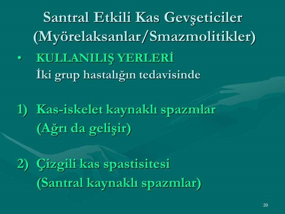 20 Santral Etkili Kas Gevşeticiler (Myörelaksanlar/Smazmolitikler) KULLANILIŞ YERLERİKULLANILIŞ YERLERİ İki grup hastalığın tedavisinde 1)Kas-iskelet kaynaklı spazmlar (Ağrı da gelişir) 2)Çizgili kas spastisitesi (Santral kaynaklı spazmlar)