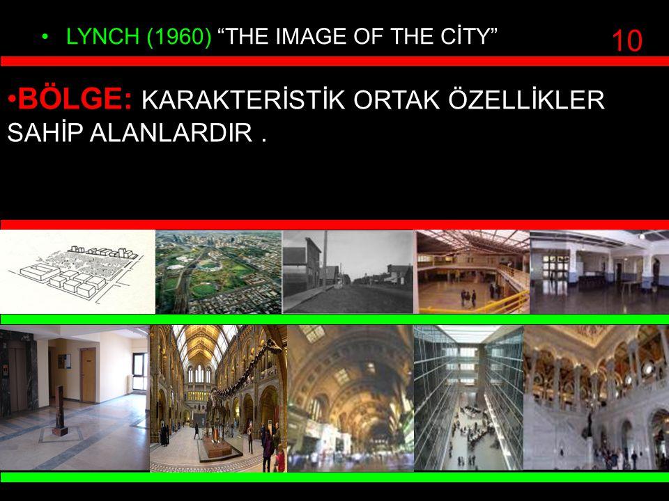 """LYNCH (1960) """"THE IMAGE OF THE CİTY"""" BÖLGE: KARAKTERİSTİK ORTAK ÖZELLİKLER SAHİP ALANLARDIR. 10"""