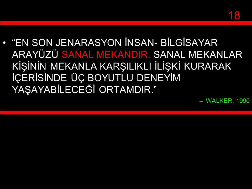 """""""EN SON JENARASYON İNSAN- BİLGİSAYAR ARAYÜZÜ SANAL MEKANDIR. SANAL MEKANLAR KİŞİNİN MEKANLA KARŞILIKLI İLİŞKİ KURARAK İÇERİSİNDE ÜÇ BOYUTLU DENEYİM YA"""