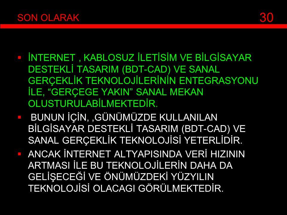 """ İNTERNET, KABLOSUZ İLETİSİM VE BİLGİSAYAR DESTEKLİ TASARIM (BDT-CAD) VE SANAL GERÇEKLİK TEKNOLOJİLERİNİN ENTEGRASYONU İLE, """"GERÇEGE YAKIN"""" SANAL MEK"""