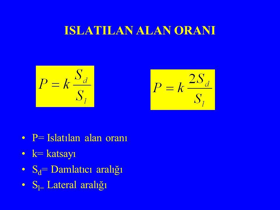 ISLATILAN ALAN ORANI P= Islatılan alan oranı k= katsayı S d = Damlatıcı aralığı S l= Lateral aralığı