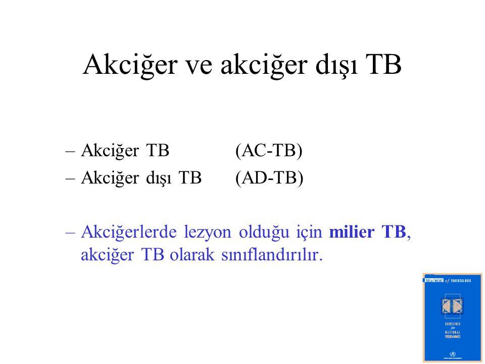 Akciğer ve akciğer dışı TB –Akciğer TB (AC-TB) –Akciğer dışı TB (AD-TB) –Akciğerlerde lezyon olduğu için milier TB, akciğer TB olarak sınıflandırılır.