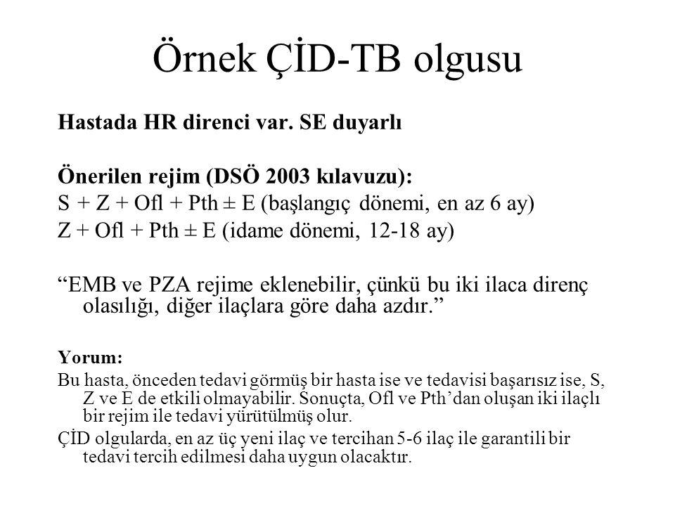 Örnek ÇİD-TB olgusu Hastada HR direnci var. SE duyarlı Önerilen rejim (DSÖ 2003 kılavuzu): S + Z + Ofl + Pth ± E (başlangıç dönemi, en az 6 ay) Z + Of