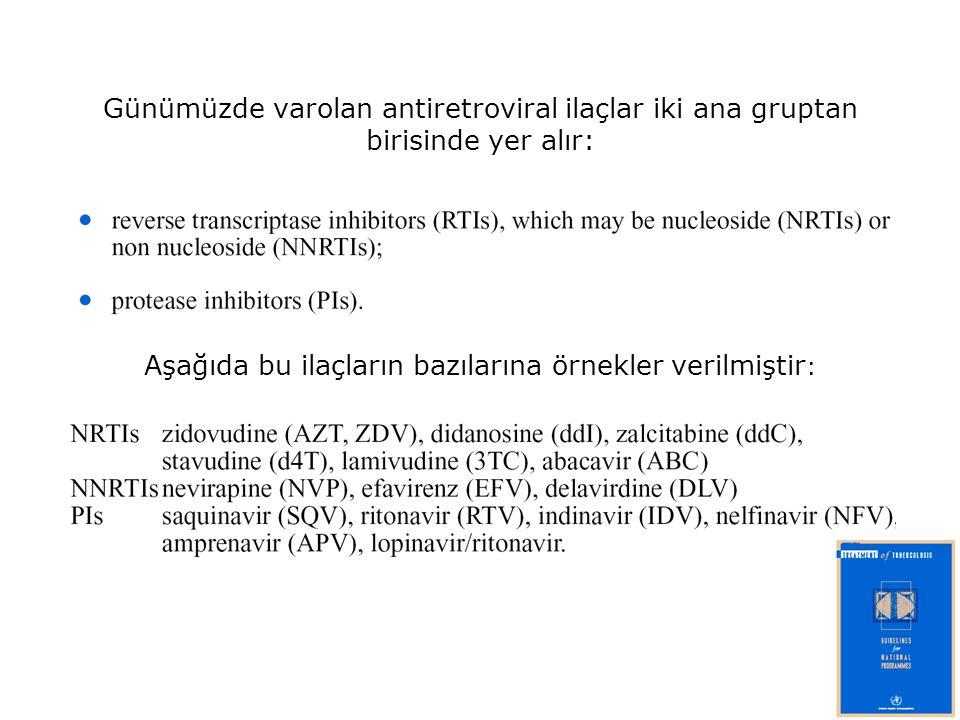 Günümüzde varolan antiretroviral ilaçlar iki ana gruptan birisinde yer alır: Aşağıda bu ilaçların bazılarına örnekler verilmiştir :