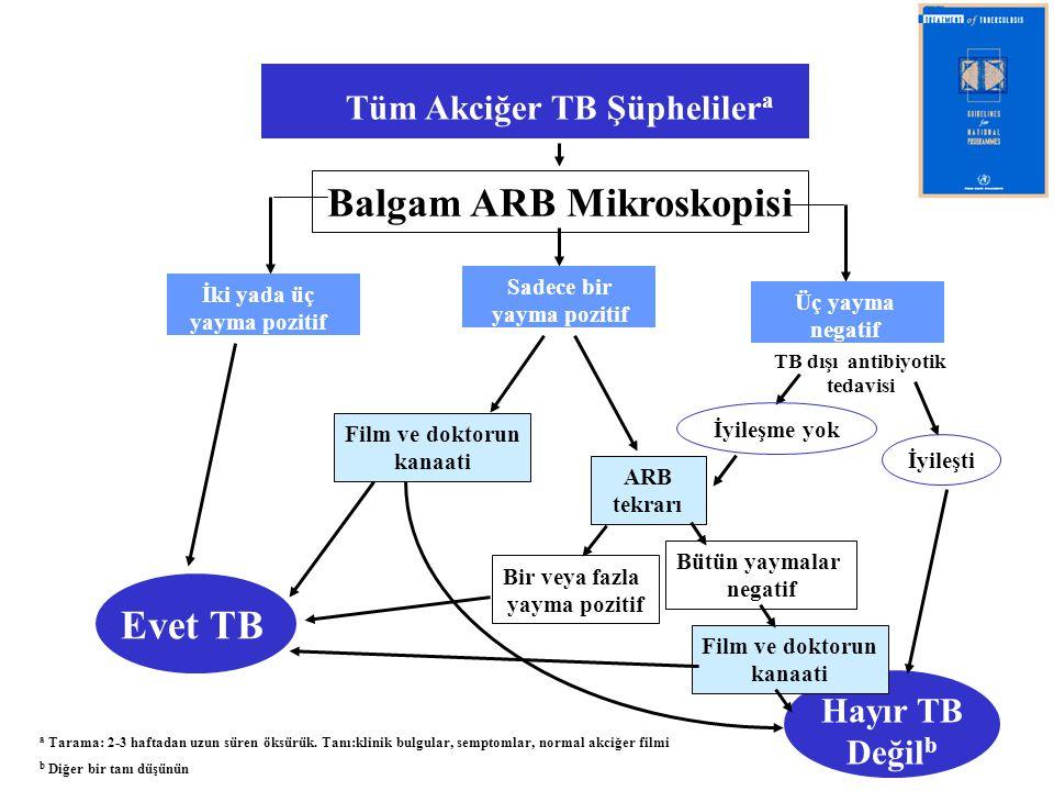 Hayır TB Değil b Tüm Akciğer TB Şüpheliler a Balgam ARB Mikroskopisi İki yada üç yayma pozitif Sadece bir yayma pozitif Üç yayma negatif Evet TB TB dı