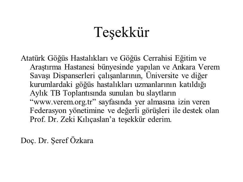 Teşekkür Atatürk Göğüs Hastalıkları ve Göğüs Cerrahisi Eğitim ve Araştırma Hastanesi bünyesinde yapılan ve Ankara Verem Savaşı Dispanserleri çalışanla