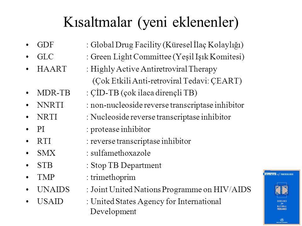 Kısaltmalar (yeni eklenenler) GDF: Global Drug Facility (Küresel İlaç Kolaylığı) GLC: Green Light Committee (Yeşil Işık Komitesi) HAART: Highly Active